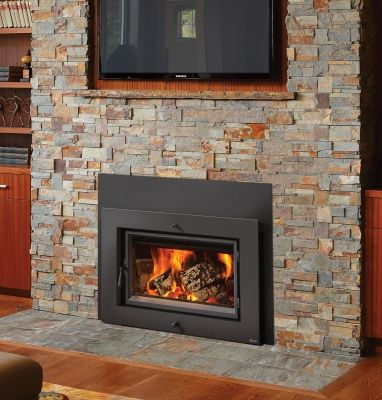 Pictures Of Fireplaces Slate Hearth And Wood Insert On