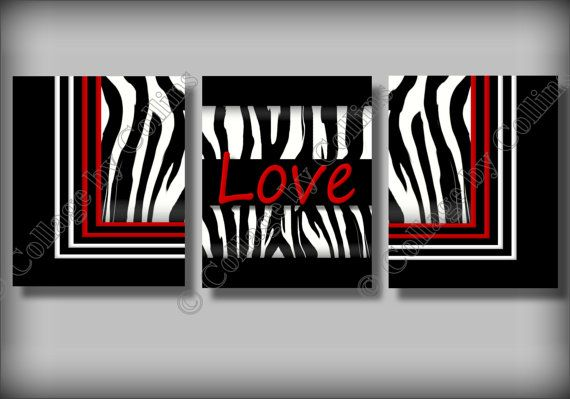 Red Zebra Print Wall Art Decor LOVE Girl Room by collagebycollins, $24.99