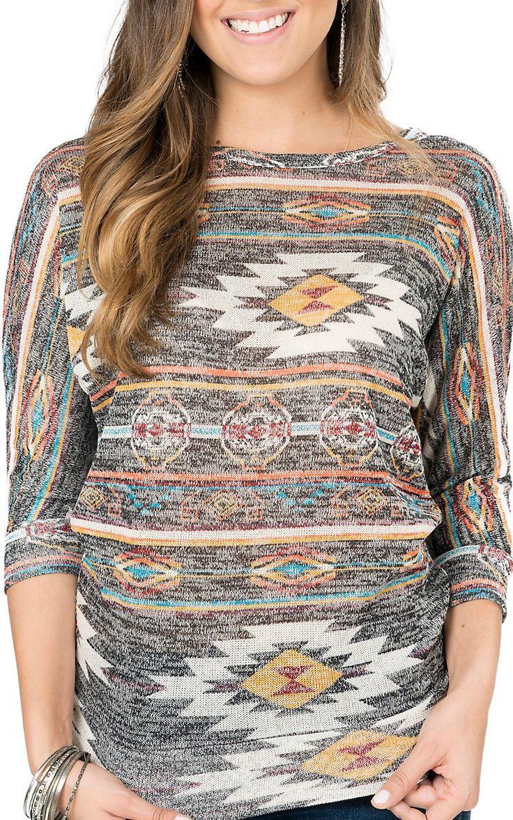 Derek Heart Women's Grey Multicolor Aztec Print 3/4 Dolman Sleeve Top | Cavender's