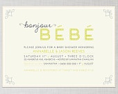 Printable French Inspired Baby Shower Invitation : Yellow and Grey / Gray Bonjour Bebe. $21.00, via Etsy.