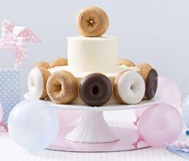 Doughnut Cake: This doughnut cake will bring out the kid in anyone!. http://www.bakers-corner.com.au/recipes/cakes/doughnut-cake/