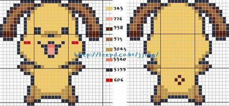 Free Cute Dog Cross Stitch Chart or Hama Perler Bead Pattern