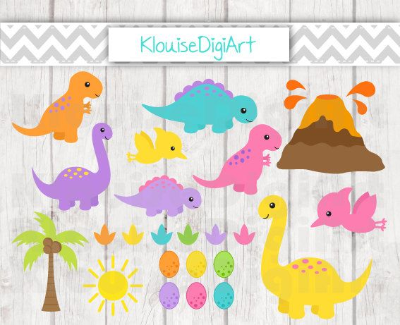 Cute Dinosaurs Prehistoric Digital Clipart by KlouiseDigiArt