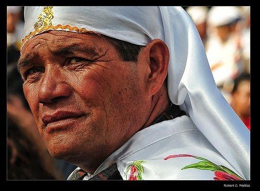 Participant in the cuasimodo, a religious ceremony, Chile.