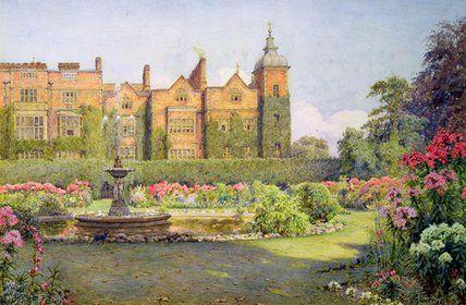 Front Ouest et les jardins de Hatfield House de Ernest Arthur Rowe (1863-1922, United Kingdom)