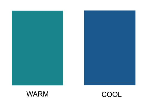 Blue - warm blue on the left is the teal shade that make yellow skin undertones glow.