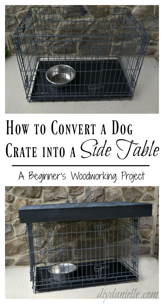 This metal dog crate was an eyesore in the family room, but with a few 2x4s and some plywood this crate was transformed into a fabulous side table!   The paint for this post was provided by the Old Fashioned Milk Paint Company.