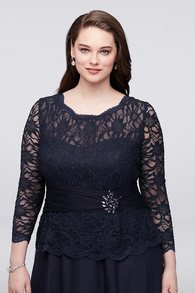 David\'s Bridal Plus Size Glitter Lace Long Sleeve Mother ...