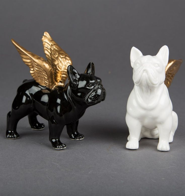 Bulldog with Gold Wings Decoration