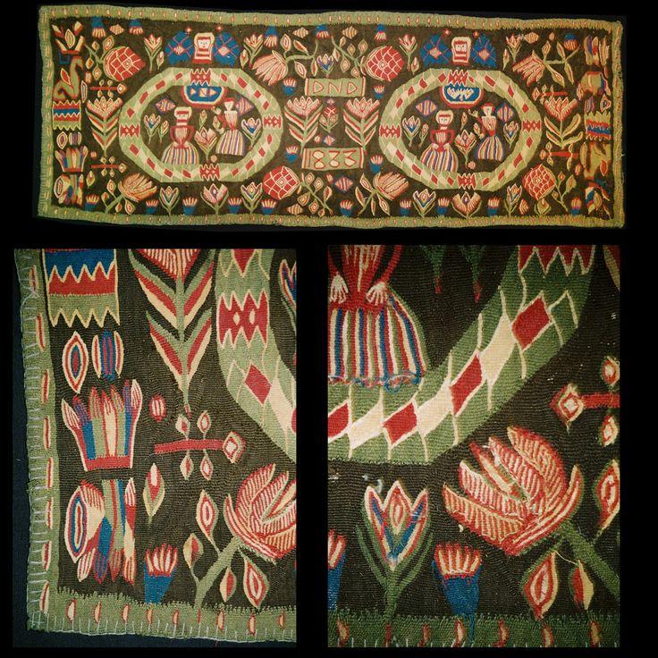 "Swedish ""flamsk"" weaving, 1833. 105 X 55 cm, "" The annunciation""."
