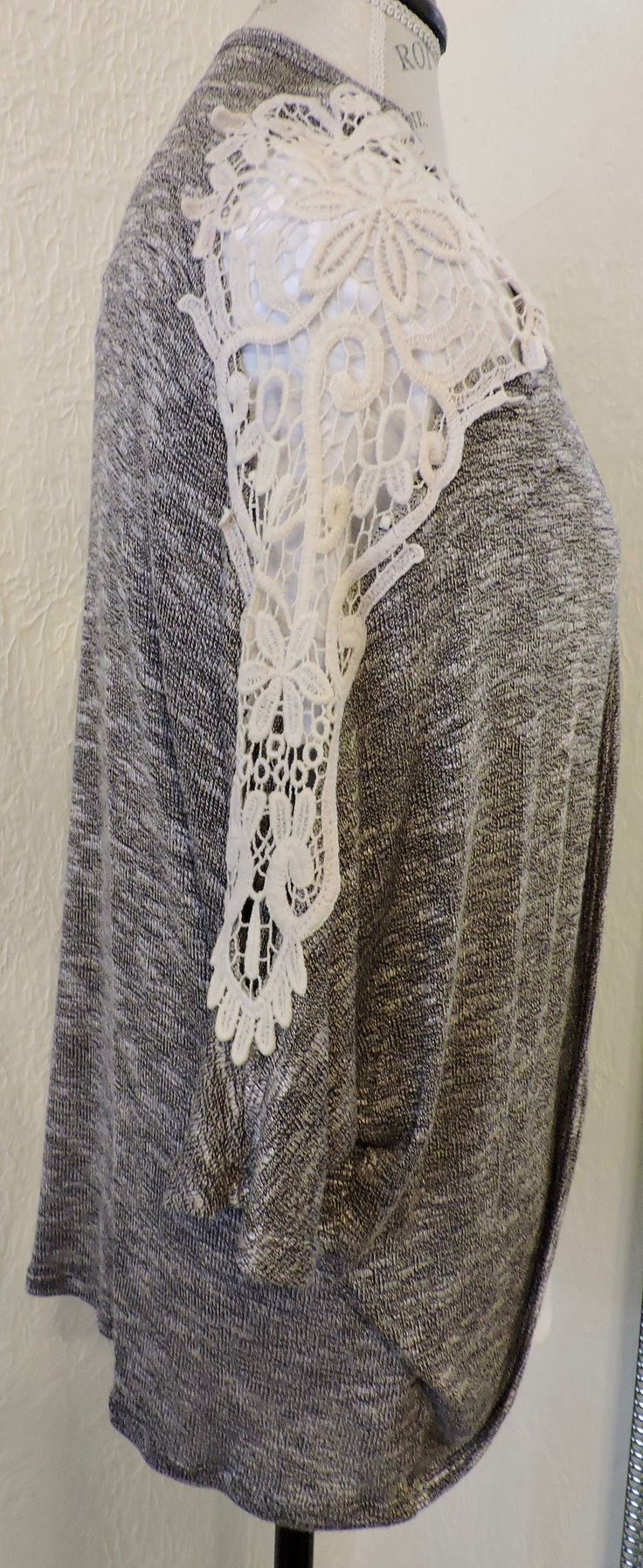 $25 Heather Gray Lace Cardigan Clink link to shop our affordable boutique! www.shopoaklynreece.com