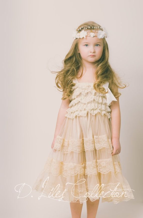 Champagne Lace Flower Girl Dress-Ivory Lace Baby Doll Dress/Rustic Flower Girl/-Vintage Wedding-Shabby Chic Flower Girl Dress-Vintage Sash