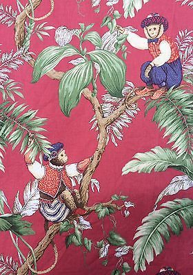 Fabric Circus Monkey In Trees Burgundy Background