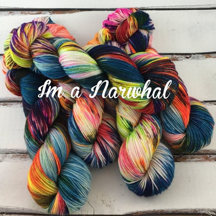 My daughter Josie dictated how this yarn would look. I'm a Narwhal is Available on: Fairy Mischief Sport: 328 yards. Sport weight. 100g skeins. 80% Superwash Me