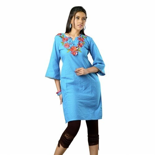 In Trend Handloom Cotton Kurta with Thread Embroidery - 10030LLK0940 -  Rs. 1,095 - Ships: Within 5-6 Business Days #Kurta #Embroidery
