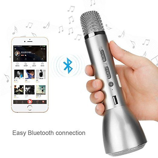 K088 Micros sans Fil Bluetooth Instruments de Musique / Microphone à Main / Enceinte pour KTV Enseignement Spectacle Compatible avec Smartphone Android, Apple Iphone, PC Portable, Tablette, pour pouvoir chanter tout le temps et partout, Argent