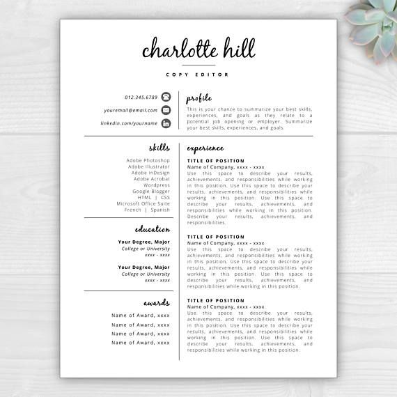 1-Page Creative Resume Template with Icons for Microsoft Word & Mac Pages: Charlotte Hill - Instant Download  - US Letter and A4 sizes included - Mac & PC compatible using Microsoft Word or Mac Pages SALE // Cyber week sale!!! All templates 50% off BONUS // Each template