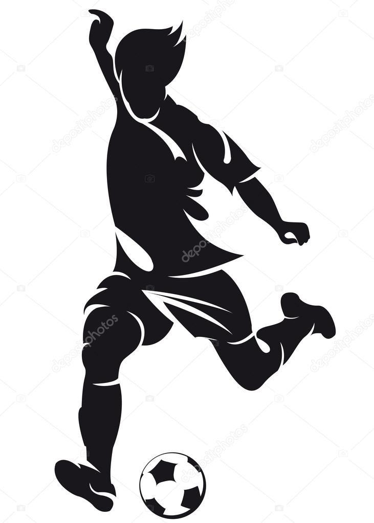 Descargar Jugador De Futbol Soccer Vector Ejecutando Silueta Con Bola Ilustracion De Stock Soccer Art Soccer Poster Sports Drawings