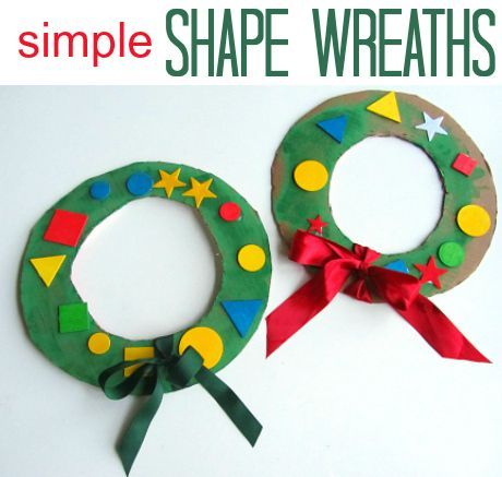 Simple Shape Wreaths.  Christmas craft for kids.
