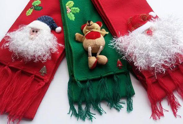 BUFANDA CON MOTIVOS NAVIDEÑOS - En Navidad es buen momento para agasajar a nuestros seres queridos.