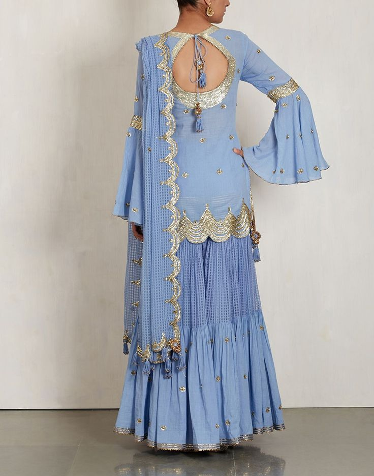 Blue Sharara Set with Sequin Embroidery-SUKRITI & AAKRITI
