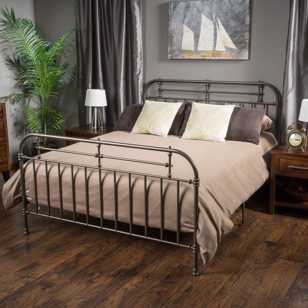 Queen Size Metal Bed Frame Antique Vintage Rustic Grey