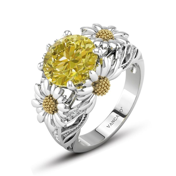 Dazzling Daisy Engagement Ring With Yellow Gemstone For Women for Mothers Day Gift