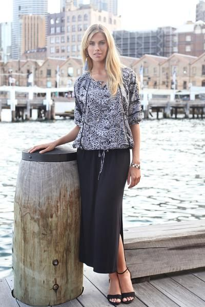 Printed Cami ||  Adrift Staple Long Skirt in Black