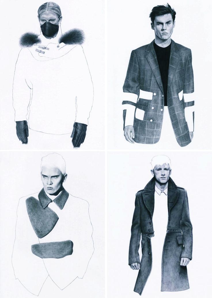 modern mens  fashions illustration  black white gray  fur jacket blazer pencil lines  || AcquireGarms.com