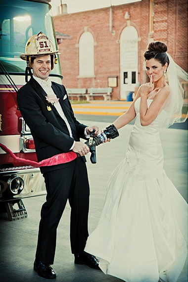 Firefighter wedding photo ANDREW GRAHAM TODES | Mobile idk about creative but that's funny