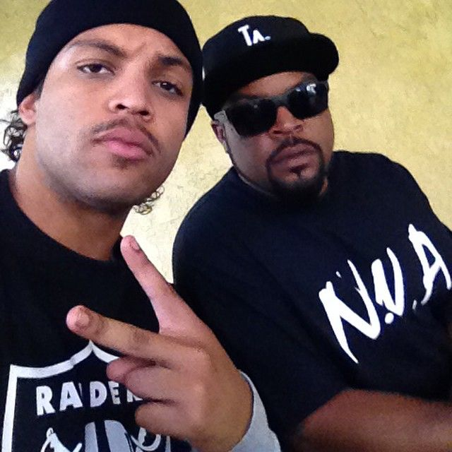 Junior as Ice Cube with Ice Cube. #SOCTakeover #StraightOuttaCompton