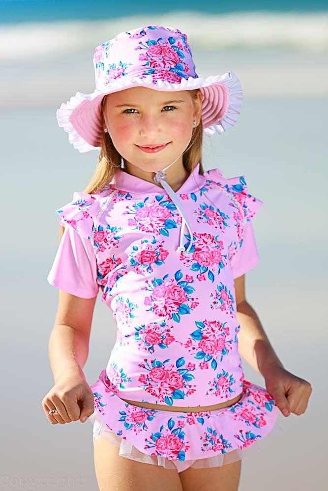 vintage rose uv sun shirt set with ballerina bikini pant