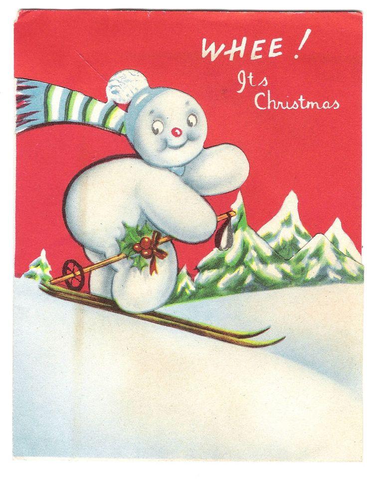 Vintage 1940s Ski Theme Christmas Card Skiing Snowman