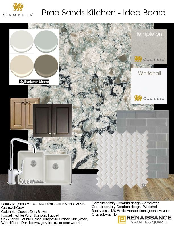 Kitchen Idea Board - Cambria Praa Sands