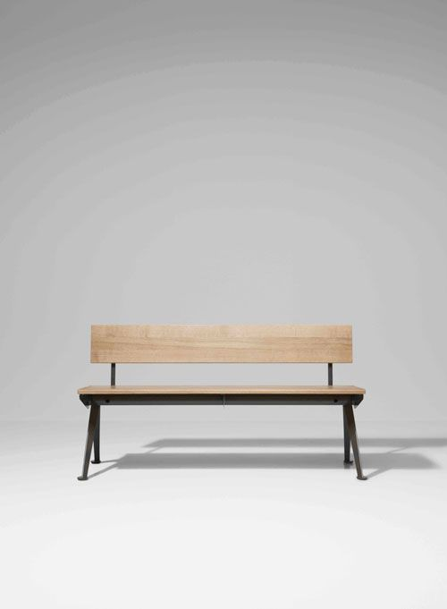Wood and Black Bench