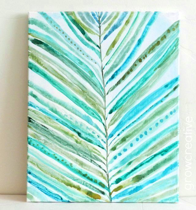 watercolor abstract palm leaf painting on canvas: grow creative blog