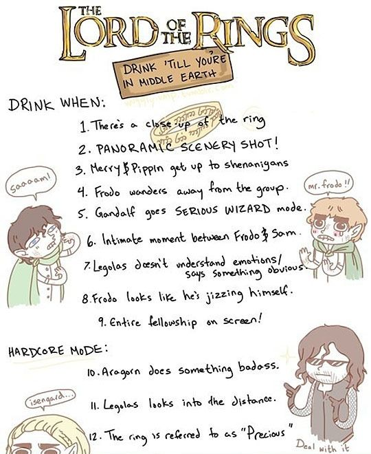 Lord of the Rings Drinking Game  Really, you could make anything into a drinking game. But still funny.The Lord, Nerd, Drinking Games, Drinks Games, Funny, Movie Night, Middle Earth, Lotr Drinks, Rings Drinks