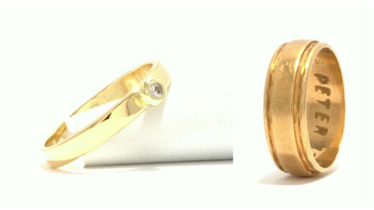 Ring, Yellowgold, white Saphire, made out of old weddingring (picture right) / Ring, geelgoud, witte saffier, gemaakt van oude trouwring (foto rechts)