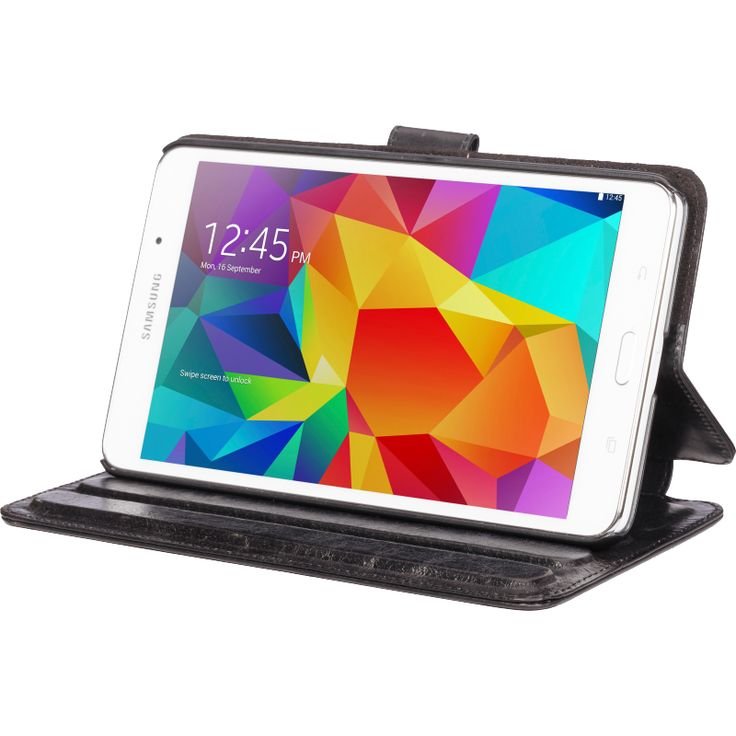 """""""Copenhagen"""" protects your Galaxy Tab while providing you with numerous viewing angles. Your display can also be flipped over to stand up, making an easy-to-use display for your work on the move. The case folds in a notebook style and fastens with a magnetic leather tab."""