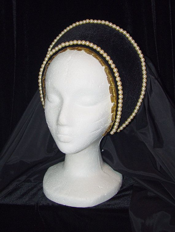 $95+ This hand-crafted, professionally made headpiece was created based on the headdresses worn by royalty and the landed gentry of the Medieval and Renaissance Eras. It will add that finishing touch to any noblewomans attire.  ANNE BOLEYN 2nd wife of King Henry VIII  This headpiece is a perfect compliment to any dress. The use of Hoods in general had been used in England for years - but it is believed that Henry VIIIs second wife and Elizabeth Is mother, Anne Boleyn brought the FRENCH Hood…