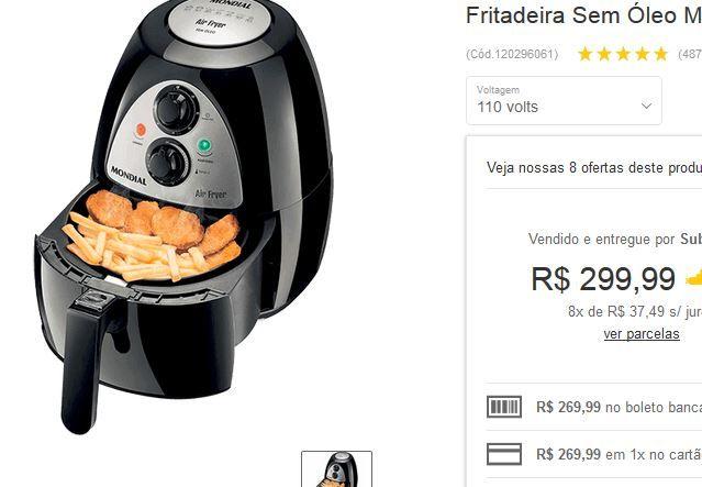 Fritadeira Elétrica Mondial AF-03 Air Fryer 27Lts << R$ 26999 >>