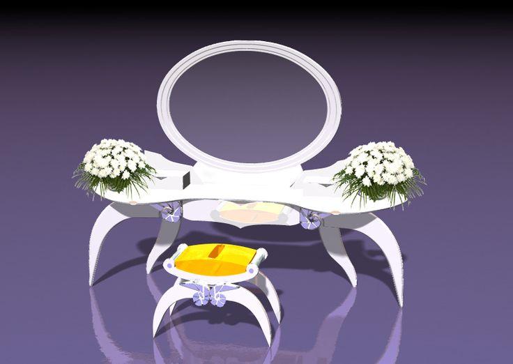 """Мебельный комплект для женской комнаты """"Элинда"""" Принимаются заказы +7(499)390-9729   В настоящее время на рынке очень мало предложений действительно изысканной, романтичной, утонченной мебели именно для женской комнаты. Мебельный комплект """"Элинда"""" - приятное исключение из общего правила. Почувствуйте себя исключительной! Размер: туалетный стол - 180х45 см высота 70 см стул - 40х45х45 см тумбочки - 50х25х45 см Материал: Дерево, декор-зеркальные вставки, фурнитура, зеркало"""