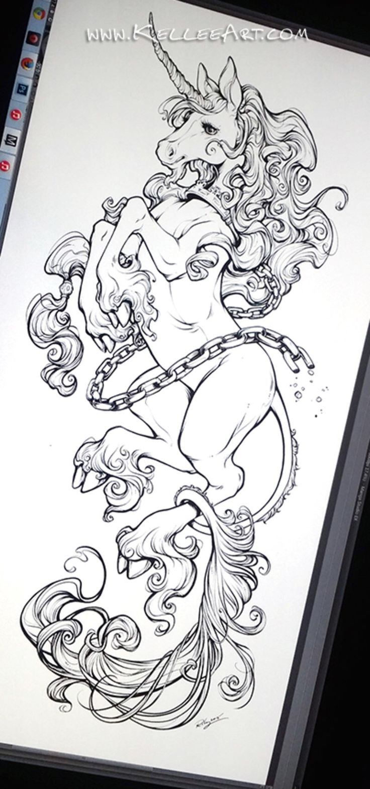 Keller Riley unicorn tattoo
