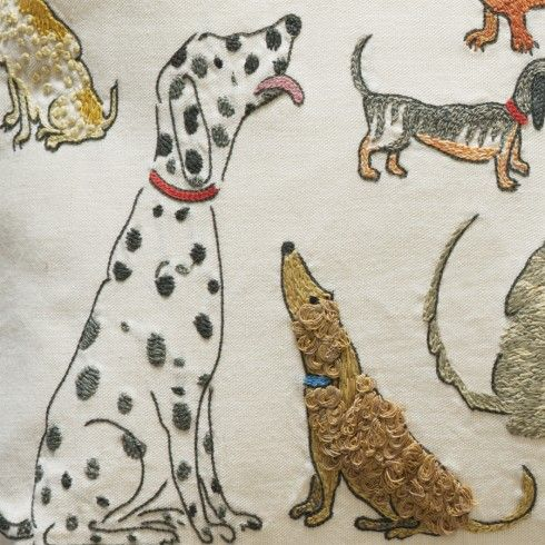 Dogs socialising by Domenica More Gordon - Detail All these dog cushions are hand embroidered - beautiful