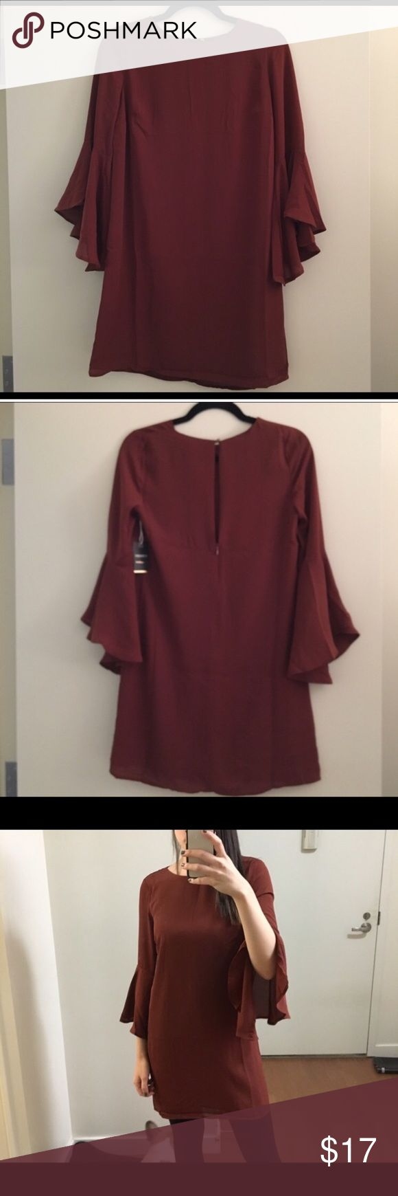 Brown Mini Dress Zipper in back. New with tag Forever 21 Dresses Mini