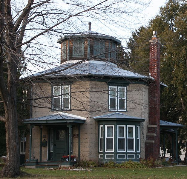 The Jacob Woodruff House Is A Two Story Octagonal House Constructed Of  Concrete Walls,