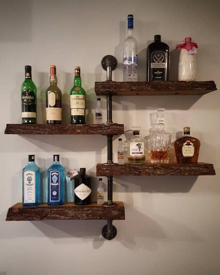Bar Wall Shelf With Life Edge Wood And Galvanized Steel