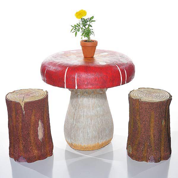 Great Big Mushroom Table with Treestump Stools : Giant Mushroom Table with Treestump Stools