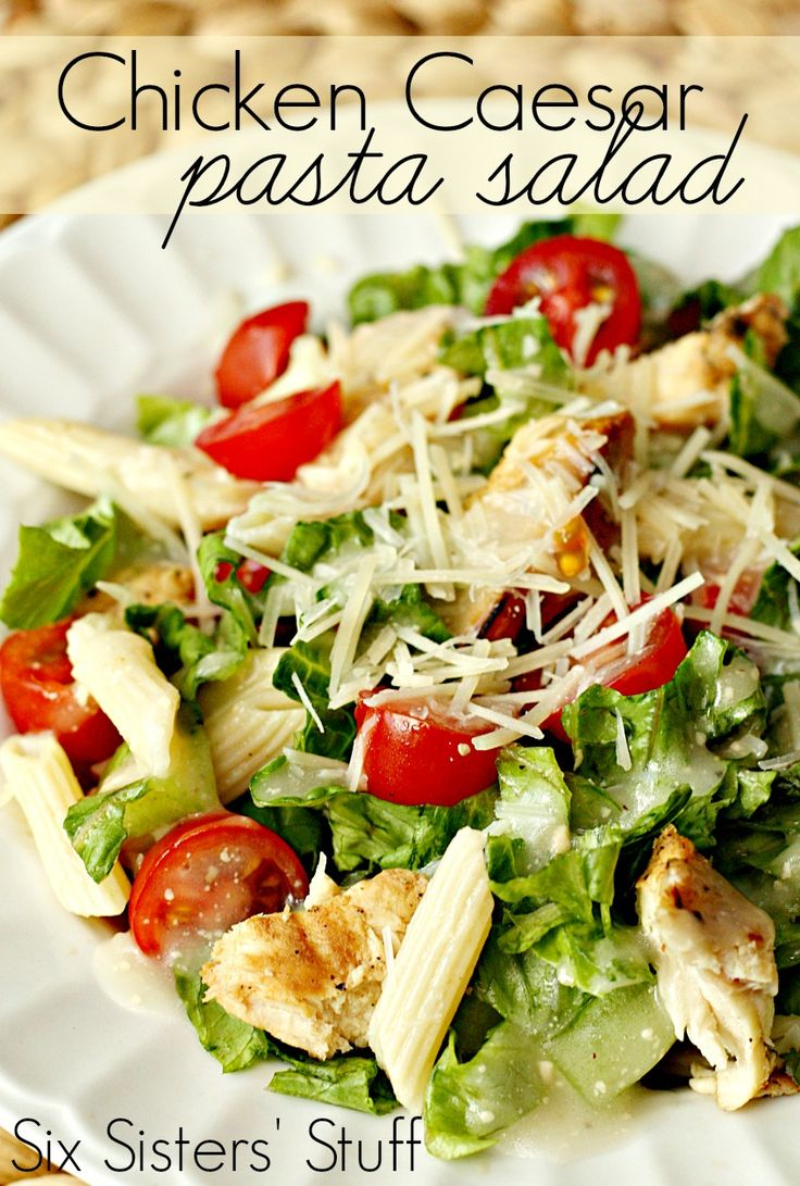 Grilled Chicken Caesar Pasta Salad from SixSistersStuff.com - the perfect summer meal! #salad #sixsistersstuff