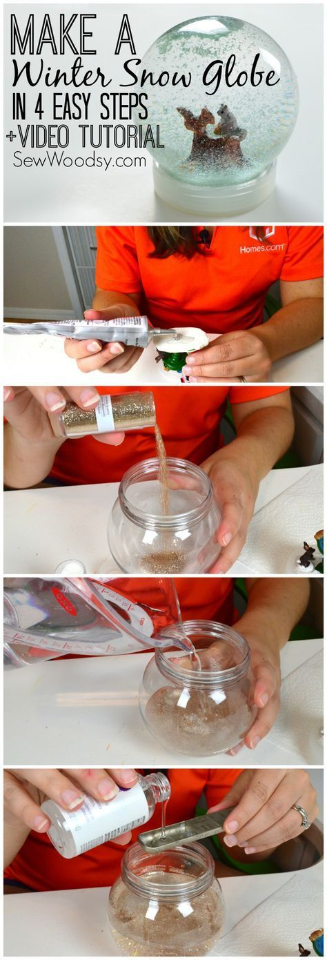 Make a Winter Snow Globe in 4 easy steps! Step-by-Step Video created for @Sarah Kellam.com